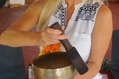 students practice how to creata sound healing