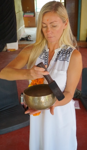 students practice how to creata sound healing